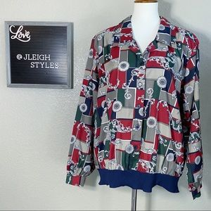 Vintage 80's Popover Button Up Ling Sleeve Top